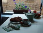 Chocolate madeleine's, peppermint tea, my kitchen