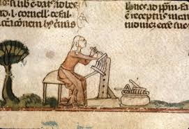 Woman carding wool, British Library, MS Royal 10 E VI, f. 138